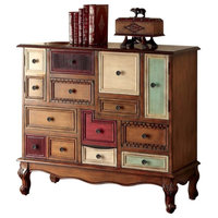 Vintage Style Wooden Accent Chest With Cabriole Legs, Multicolor