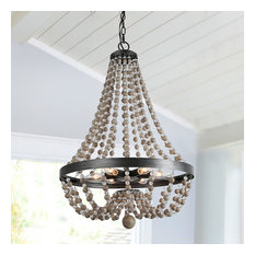 Farmhouse 6-Light Wood Beaded Chandelier Candle Empire Chandeliers