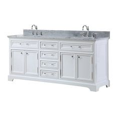 "Double Sink Bathroom Vanity, Pure White, 72"" Double Sink, With Faucet"