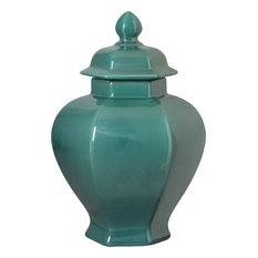Hexagon Temple Jar, Lush Teal