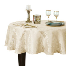 """Barcelona Damask Solid Fabric Tablecloth, Antique, 90"""" Round"""