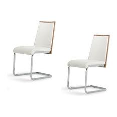 Modrest Morgan Modern Dining Chairs Set Of 2 White Chrome Walnut