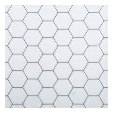 "10x10"" Hexagon Peel and Stick Wall Tile, White, Set of 6"