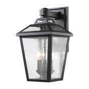 3-Light Outdoor Wall Light with Clear Seedy Shade