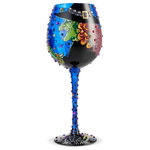"""Enesco - """"Cast a Spell"""" Super Bling Wine Glass by Lolita - This spellbinding wine glass is equally stylish and spooky. In glittering details a green witch paints the bowl with an enchanting scene and script """"You Put a Spell on Me"""". Made from artisan blown glass."""