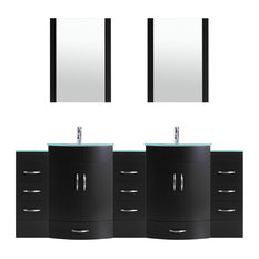 "84"" Black Vanity, 24"" Double Sink Bases, Double 12 Drawer Bases, LV5-C19-84-B"