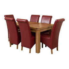 Richmond Oak Extending Table, 6 Montana Chairs, 140-220 cm, Red Leather