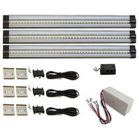 3 piece neutral white LED strip light kit, 12W dimmable hardwired power supply