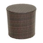 Overton Outdoor Wicker Barrel Side Table, Brown