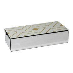 "Sagebrook Home Mirror/Gold Diamond Box 10.75"""
