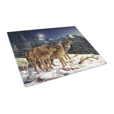 Wolf Wolves Crying At The Moon Glass Cutting Board, Large