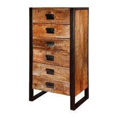 Roxborough Industrial Rustic Wood 6 Drawer Chest