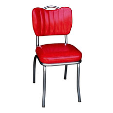 Handle Back Retro Kitchen Chair, Cracked Ice Red