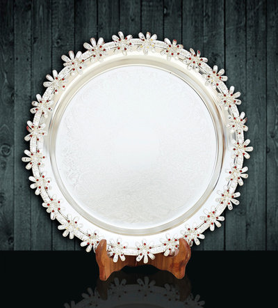 Modern Home Accessories & Decor Buy Beautiful Floral Siver Tray with Flower Edges