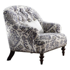 Acme Saira Chair With 1 Pillow, Pattern Fabric