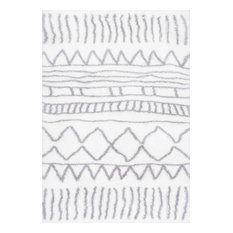 "Soft and Plush Cloudy Shag Moroccan Geometric Drawings Rug, Gray, 5'3""x7'6"""