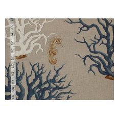 Blue Coral Seahorse Fabric, Standard Cut