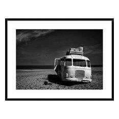"""""""Beached Bus"""" Framed Digital Print by Yvette Depaepe, 38""""x29"""""""