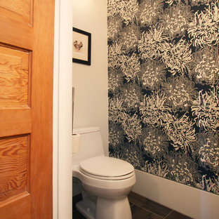 Design ideas for a medium sized modern cloakroom in Portland with a one-piece toilet, grey tiles, white walls, slate flooring and a submerged sink.