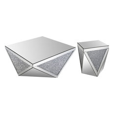 Mirrored Crystal Coffee and End Table,  2-Piece Set