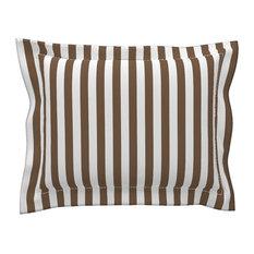 Stripes Vertical Dark Brown And White White Stripes Cotton Pillow Sham, Standard
