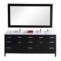 "London 78"" Double Sink Vanity Set, Espresso"