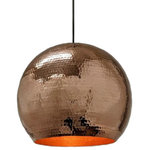 SoLuna Copper - Copper Globe Pendant Light in Polished Copper, Extra Large - Copper pendants are sturdy, versatile, and fit into designs from rustic all the way to contemporary settings.  This elegant hand hammered copper pendant light in Polished Copper will compliment most any décor, particularly if you already have one of our copper sinks or plans to get one! Depending on your preference, individual pendants can hang level at the same height, or be staggered. Globe pendants look stunning alone or can be arranged in series of different sizes and colors.
