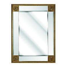 Concentric Rectangular Wall Mirror With Decorative Corners, Gold, 115x85 cm