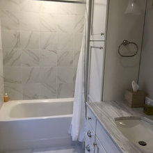 Carrara Marble Inspired Tile Bathroom