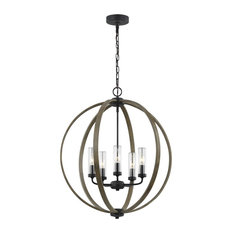 5-Light Chandelier, Weathered Oak Wood/Antique Forged Iron