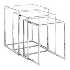 Terzi Nesting Side Tables Silver Clear