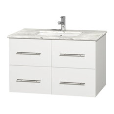 "Centra 36"" Vanity, Square Sink, Matte White, White Carrera Marble"