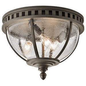 Traditional 3-Light Flush Ceiling Fitting, Bronze