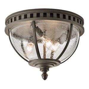 Traditional 3-Light Flush Ceiling Fitting, Bronze