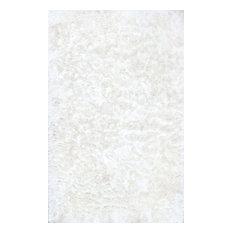"Hand Woven Silky Shine Solid Shag Rug, Pearl White, 7'6""x9'6"""