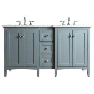 """Tower Modern 60"""" Gray Double Sink Bathroom Vanity"""