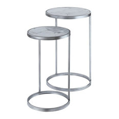 Convenience Concepts Gold Coast Faux Marble Nesting End Tables In Silver