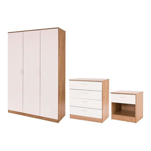 3-Piece Bedroom Furniture Set With Wardrobe, Chest and Bedside, Gloss White-Oak