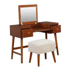 Linon Vallen Walnut Vanity Set