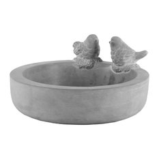 Bowl With Bird Figurine and Engraved Floral Design, Washed Concrete Finish Gray