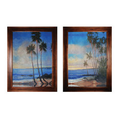 Island Or Coastal Paining Of Palm Trees And Beach  - Brown Wood Frame In Brown