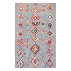Hand-Tufted Bohemian Moroccan Diamond Rug, Gray, 6'x9'