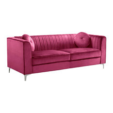 Traditional Velvet Sofa Fuschia