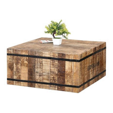 Expedition Square Coffee Table Made of Rustic Mango Wood & Iron