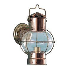 Nautical Globe / Onion Sconce by Shiplights, Unlacquered Brass & Copper Combo