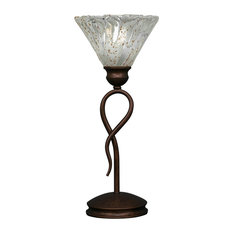 "Leaf Mini Table Lamp Bronze Finish W/7"" Italian Ice Crystal Glass (35-BRZ-7195)"