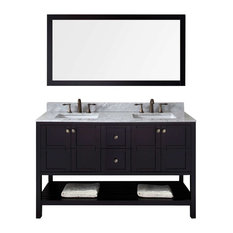 "Winterfell 60"" Double Bathroom Vanity Cabinet Set, Espresso"