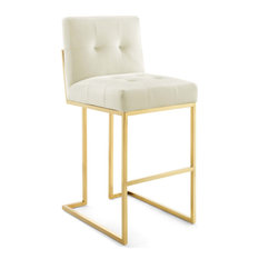 Privy Gold Stainless Steel Performance Velvet Bar Stool Gold Ivory