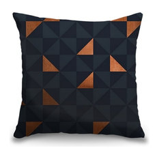 """Copper Triangles Navy"" Outdoor Pillow 20""x20"""