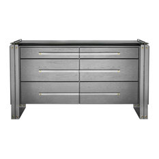 Dresser Chest Of Drawers Metallic Silver Black Iron Solid American